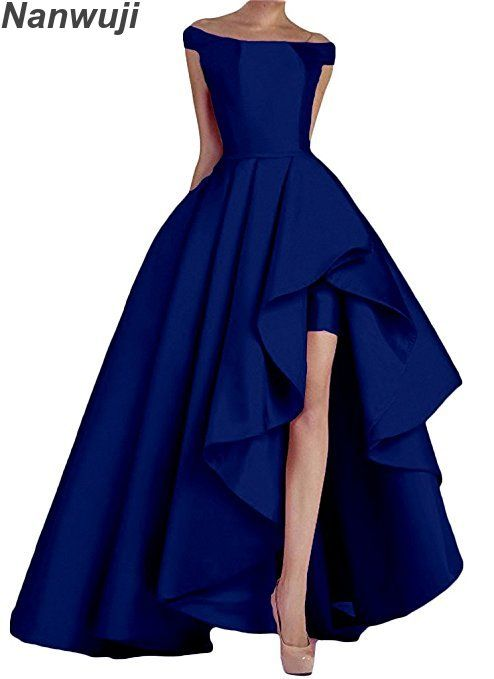 2018 Boat Neck Royal Blue Women's Off Shoulder Long Evening Prom Dresses High Low Formal Gowns