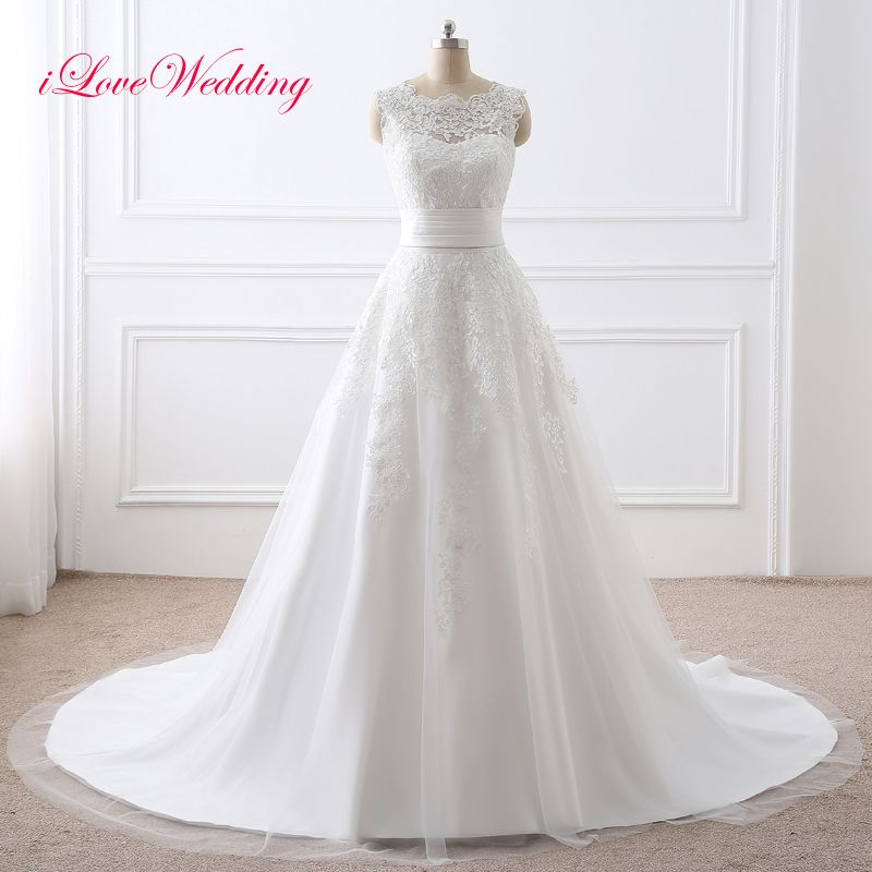 2017 White Memrmaid Wedding Dresses Detachable Train Lace Appliqued Scoop Neckline Bridal Gown Two Pieces With Removable dress