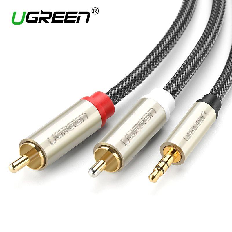 Ugreen RCA Audio Câble 2RCA Mâle à 3.5mm Jack à 2 RCA AUX Câble En Nylon Tressé Câble Répartiteur pour Home Cinéma iPhone casque