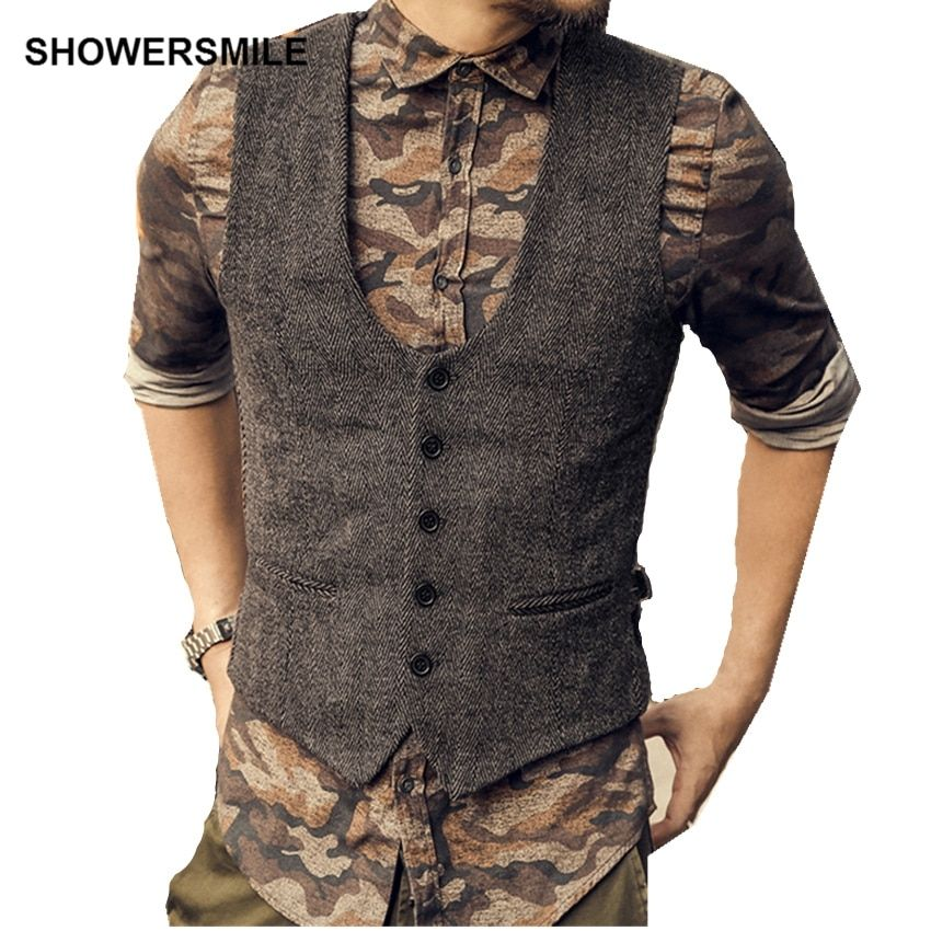 SHOWERSMILE Dark Grey Suit Vest Mens Wool Tweeds Autumn Vintage Slim Fit Striped Waistcoat England Style Sleeveless Jacket Gilet