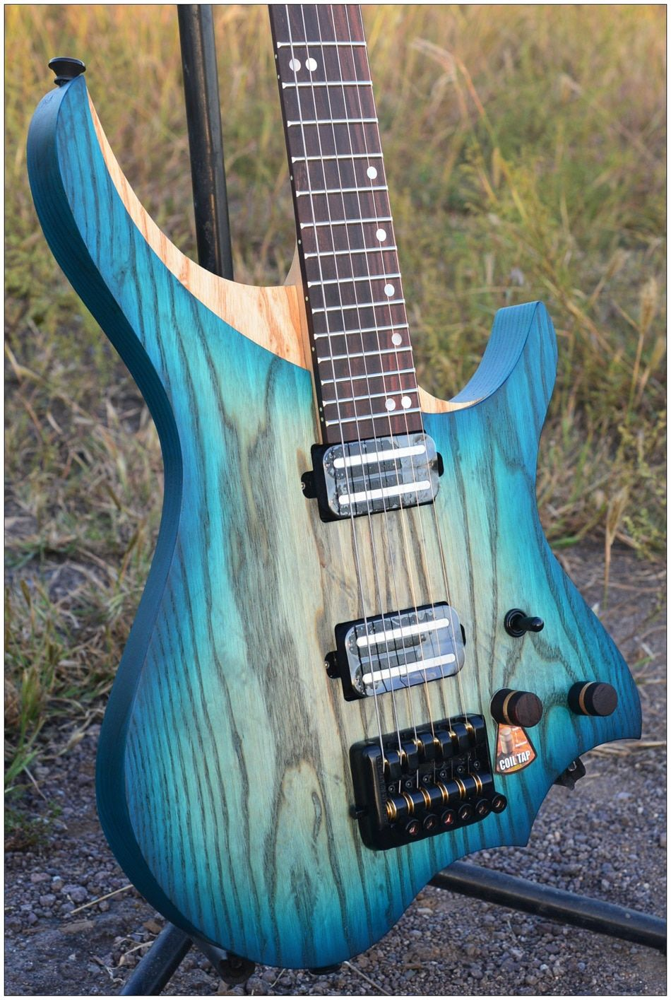 NK Headless Electric Guitar steinberger style Model Blue burst color 3 pics Flame maple Neck in stock Guitar free shipping