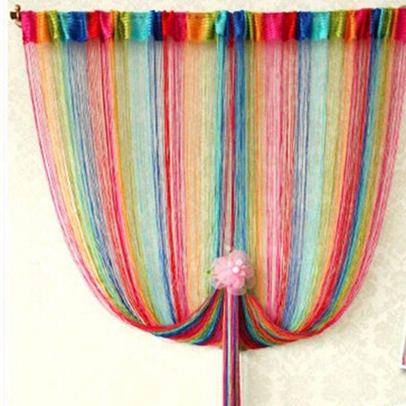 95 cm * 200 cm arc-en-ciel ligne rideau avec 6 couleurs dans le salon chambre porte maison rideau décoratif