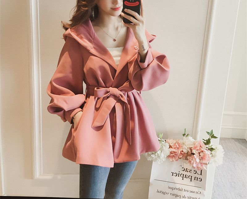 2018 Full Rushed Coats Coat Free Shipping2018 Autumn New Korean Version Of The Lantern Sleeve Jacket Women Loose Tie With Waist
