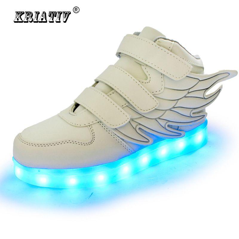 KRIATIV enfants chaussures lumineux sneakers led pantoufles panier led enfants light up chaussures infantile lumineux sneakers garçon fille