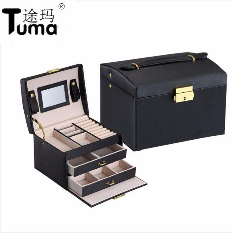 Trois Couches 2018 Classique de Haute Qualité Boîte à Bijoux En Cuir Bijoux Exquis Cas Maquillage Bijoux Organisateur Boîte De Cadeau de Mode
