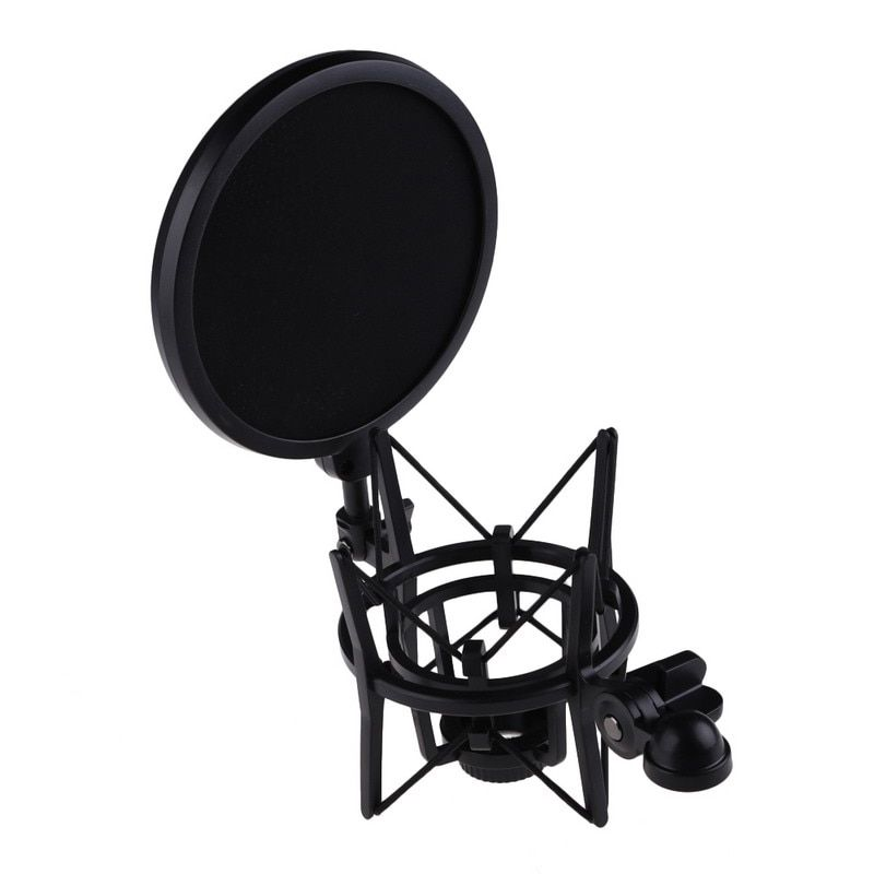 100% Brand new Microphone Mic Professional Shock Mount With Pop Shield Filter Screen Microfone For recording