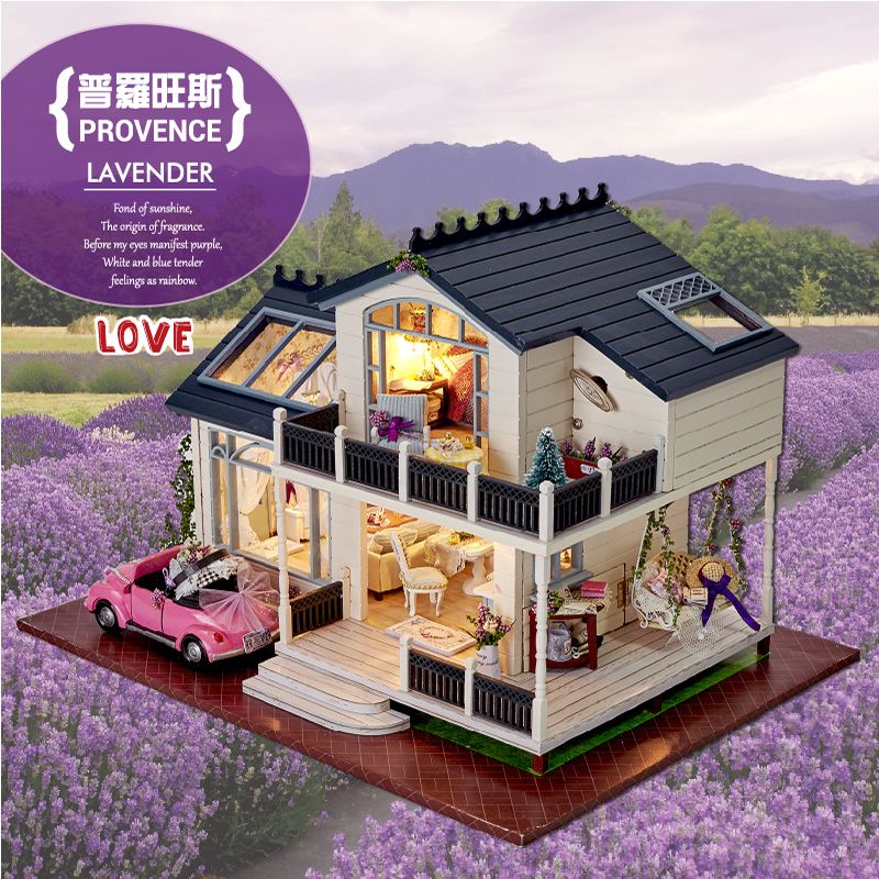 Furniture DIY Doll House Wodden Miniatura Doll Houses Furniture Kit DIY Puzzle Assemble Dollhouse Toys For Children gift A032