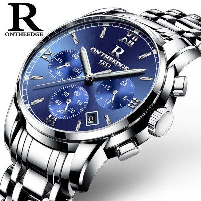 New famous brand watches ONTHEEDGE Men Wrist Watches Casual waterproof stainless steel Quartz watch calendar relogio masculino