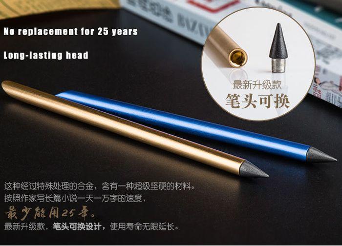 Pinceau sans encre métal doré stylo plume encre stylo fer plume avec 1nib Fineliner stylo entreprise papeterie fournitures de bureau