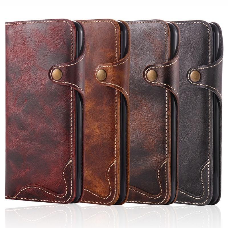 Nouveau étui portefeuille en cuir véritable naturel pour Apple iPhone 6 6 S 7 Plus sac à manches pour téléphone rétro Vintage fermoir à rabat