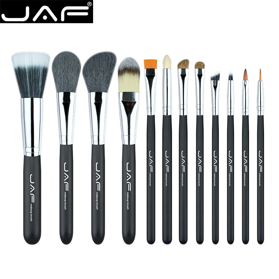 JAF 12pcs High Quality Make Up Brush Set Leather Case with Zipper Professional Cosmetic Beauty Makeup Brushes & Tools J1203MYZ-B