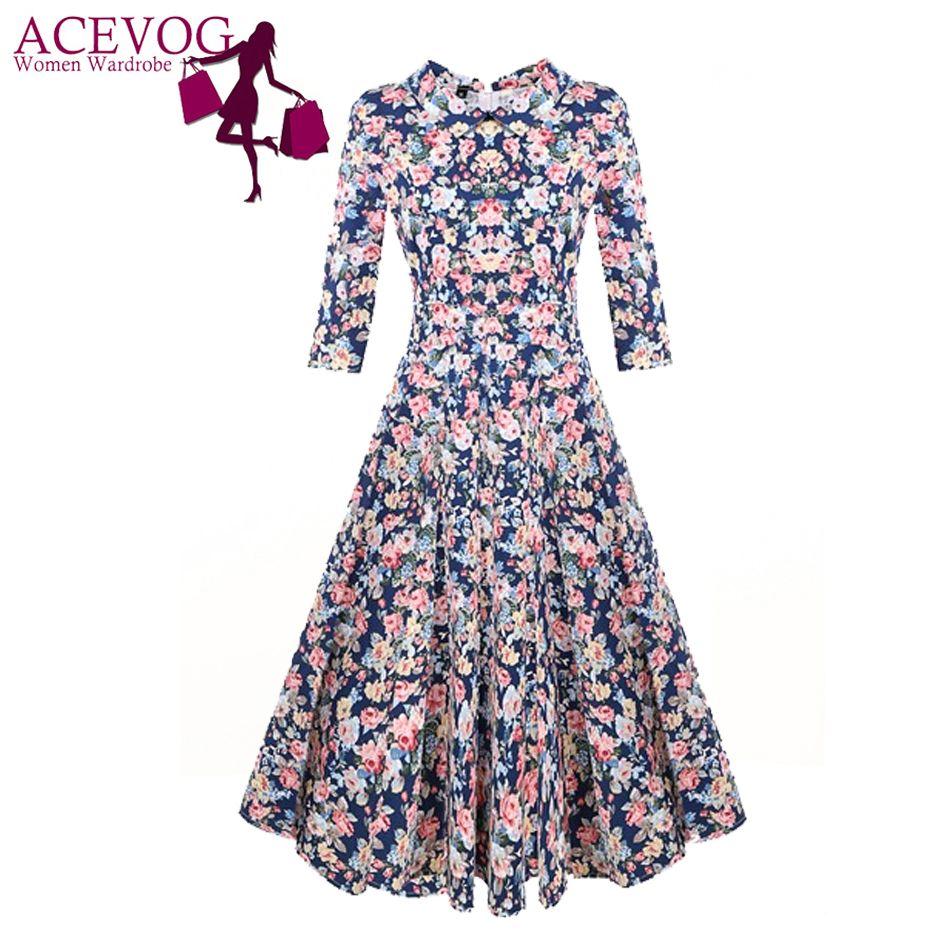 Acevog бренд 1950 S платье осень весна 3/4 рукавом Для женщин модные элегантные Винтаж рокабилли цветочный качели Платья для вечеринок 4 стиля