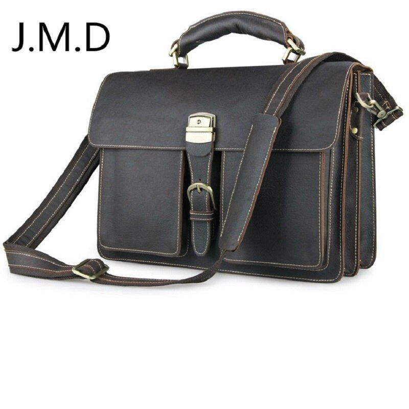 J.M.D 2018 New Arrival 100% Classic Leather Rare Crazy Horse Leather Handbag Briefcases Laptop bag For Men 7164