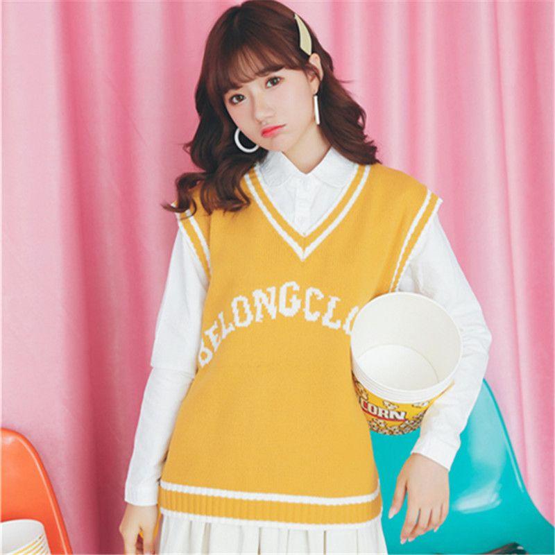 Women'S Harajuku Vitality Generalized Leisure V-Neck Knitting Retro Vest Female Letter Embroidery Pullover Kawaii Sweater Tops