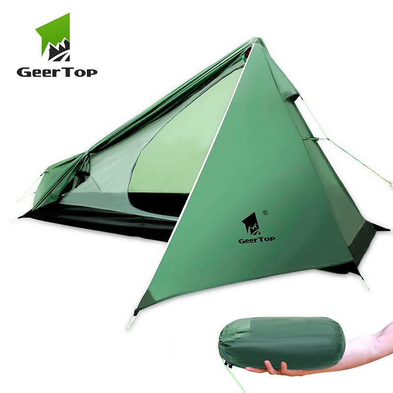 GeerTop Ultraleicht Camping Rucksack Zelt Eine Person 3 Saison Wateproof Leichte Mann Zelt für Wandern Trekking Outdoor Drei