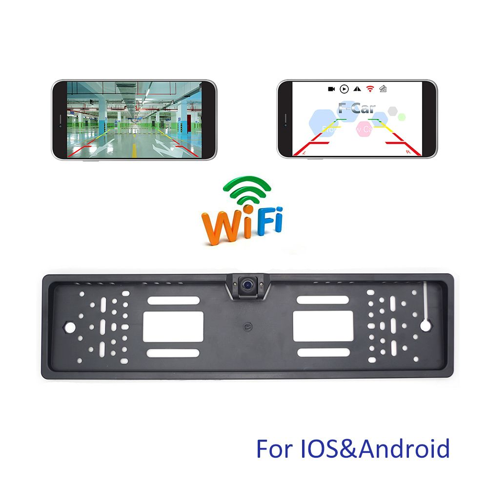 Newest!!! WIFI Car Rear View Camera Wireless European Car License Plate Frame Reverse Camera for iPhone IOS Android Mobile Phone