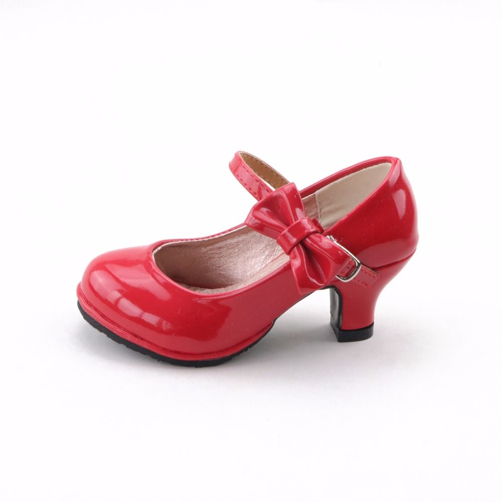 Children 2017 hot sale princess shoes girls party bow shoes shiny Solid color high-heeled fashion shoes for kids size26-35