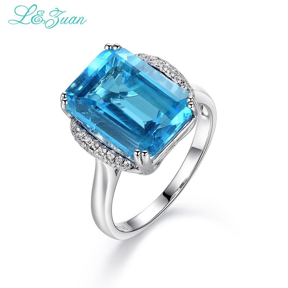 L & zuan 925 Sterling Argent Naturel 8.78ct Topaze Bleu Pierre Prong Réglage Anneau Bijoux Pour Cadeau De Noël