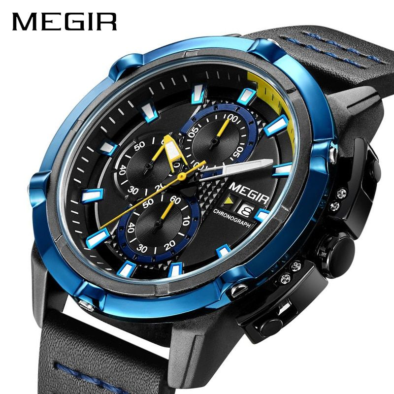 <font><b>MEGIR</b></font> Creative Sport Watch Men Relogio Masculino Fashion Brand Luxury Quartz Chronograph Army Military Wrist Watches Clock Men
