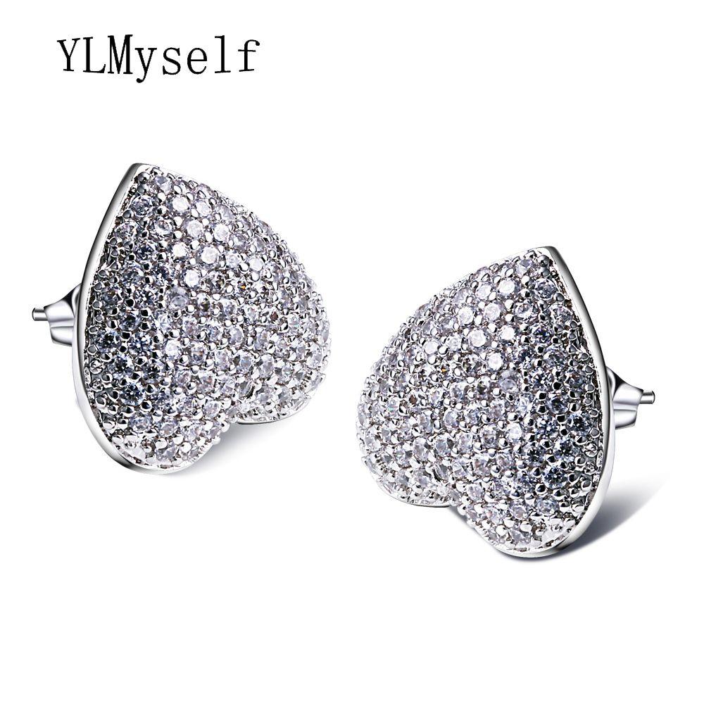 Joli et romantique bijoux amour coeur gros clou boucle d'oreille avec AAA CZ cristal bijoux blanc le meilleur cadeau amoureux pour elle de boucles d'oreilles