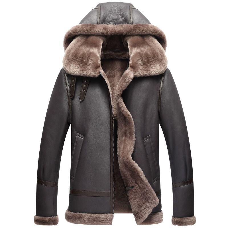 Echtes Leder Jacke Winter Jacke Männer Echte Schaffell Mantel für Männer Natürliche Lammfell Flug Bomber Jacken Plus Größe 710 MY2017