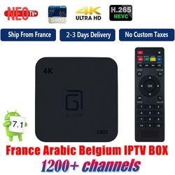 Meilleur Android TV Box avec 1 Année 1200 + Arabe Français Belgique IPTV abonnement football france Chaînes En Direct livraison smart 4 K tv box
