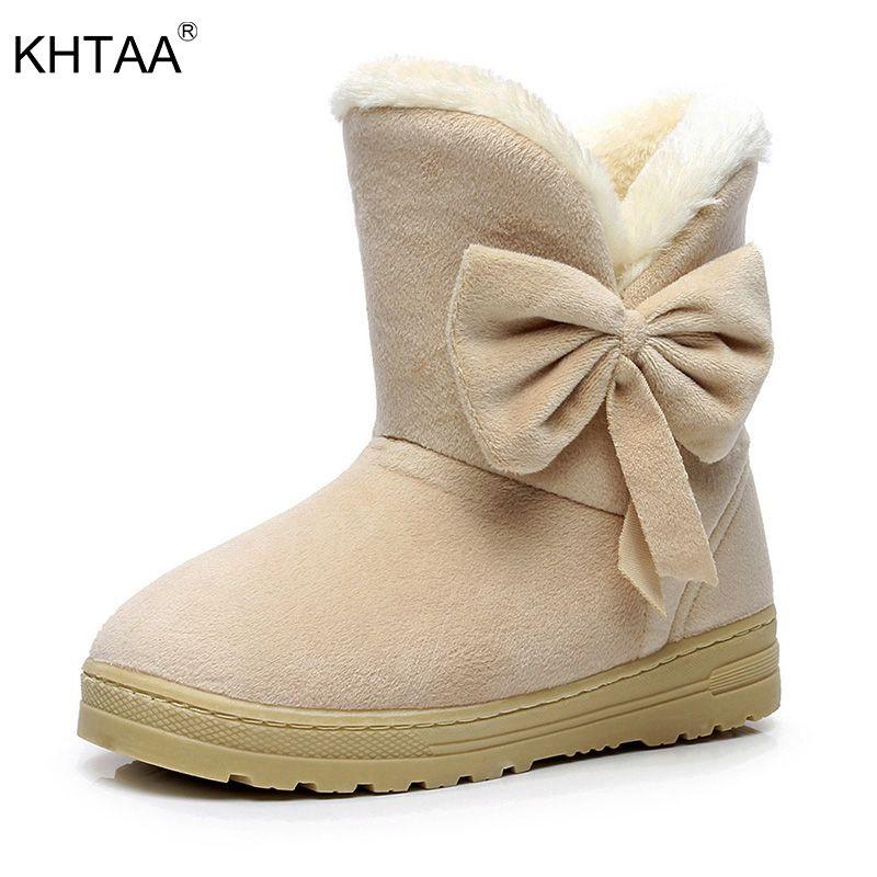 KHTAA Female Warmer Plush Bowtie Fur Suede Rubber Flat Slip On Winter Ankle Snow Boots Women's Fashion Platform Black Shoes