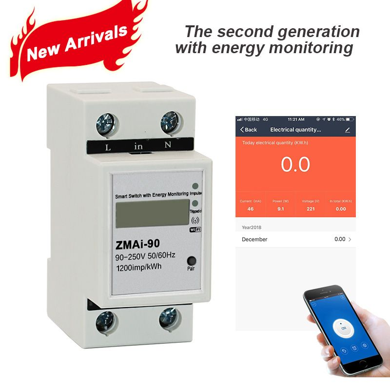 Tuya APP Single phase Din rail WIFI Smart Energy Meter Power Consumption kWh Meter wattmeter 220V,110V AC 50Hz/60hz