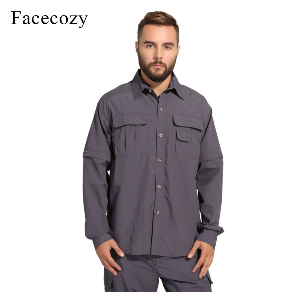 Facecozy Men Summer Quick Dry Hiking Shirt Removable Mountaineer Shirts Breathable Rock Climbing Tops Male Outdoor Sports Shirt