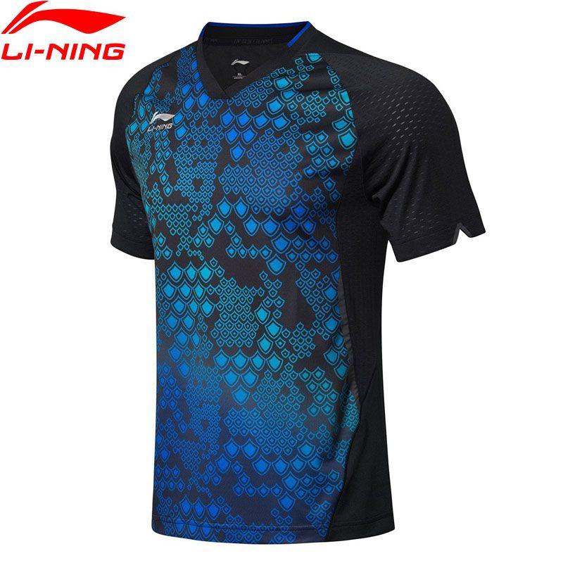 Li-Ning Männer Tischtennis T-shirts Atmungsaktiv Komfort Nationalen Team Sponsor Futter Wettbewerb Sport Tees Tops AAYN177 MTS2777