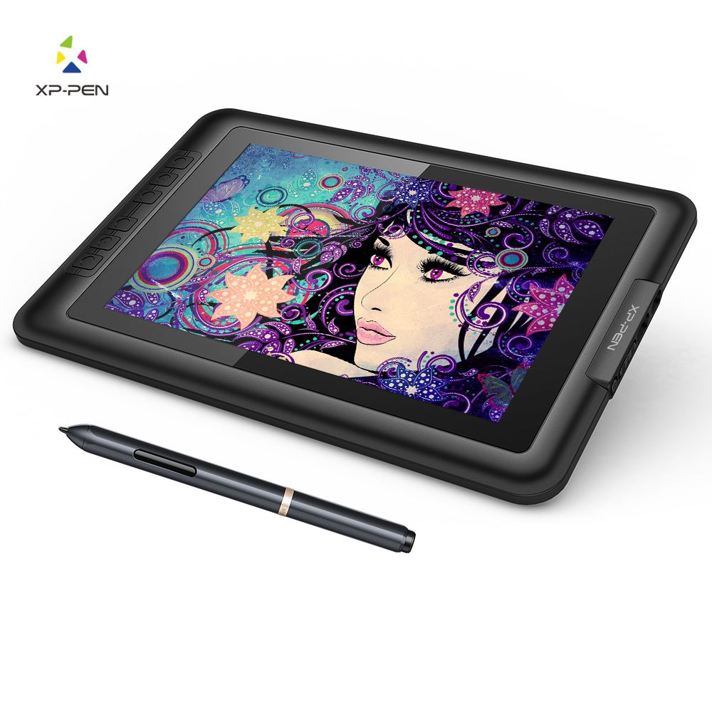XP-Pen Artist10S 10.1 IPS Graphics Drawing Monitor Pen Tablet Pen <font><b>Display</b></font> with Clean Kit and Drawing Glove (Black)