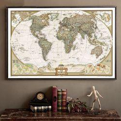Grand Vintage Carte Du Monde Bureau Fournitures Antique Détaillée Affiche Tableau Mural Rétro Papier Mat Papier Kraft 28*18 pouce carte De Monde