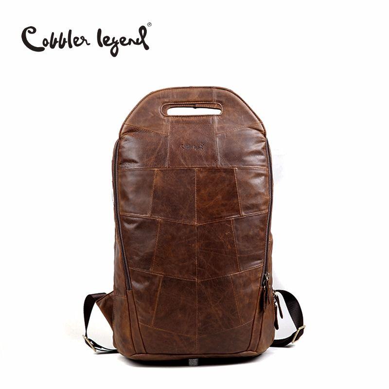 Cobbler Legend 2018 Men Cowhide Genuine Leather Fashion Vintage Backpacks Large Capacity Shoulder Travelling Bag For Teenage