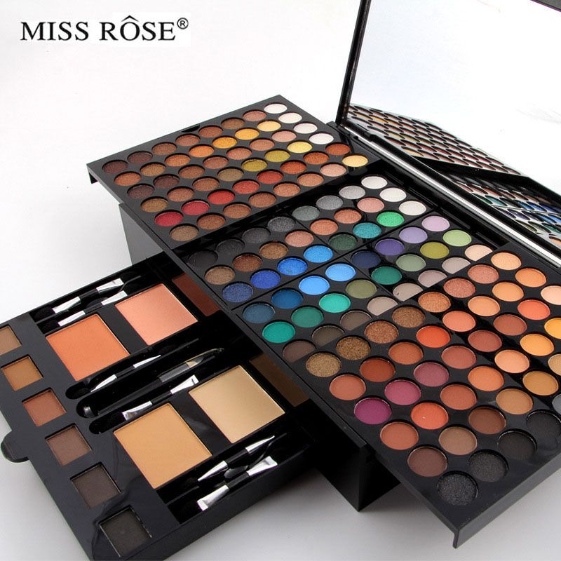 180 colors matte nude shimmer eyeshadow palette makeup set with brush mirror Shrink professional Cosmetic <font><b>case</b></font> makeup kit