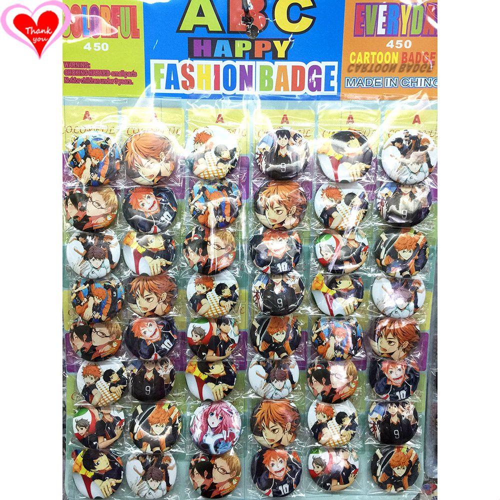 Amour merci Haikyuu 45 MM 16/24/32/40/48 pièces lot broche arrière BADGE bouton broche pour sac cadeau jouet tissu Cartoon & anime