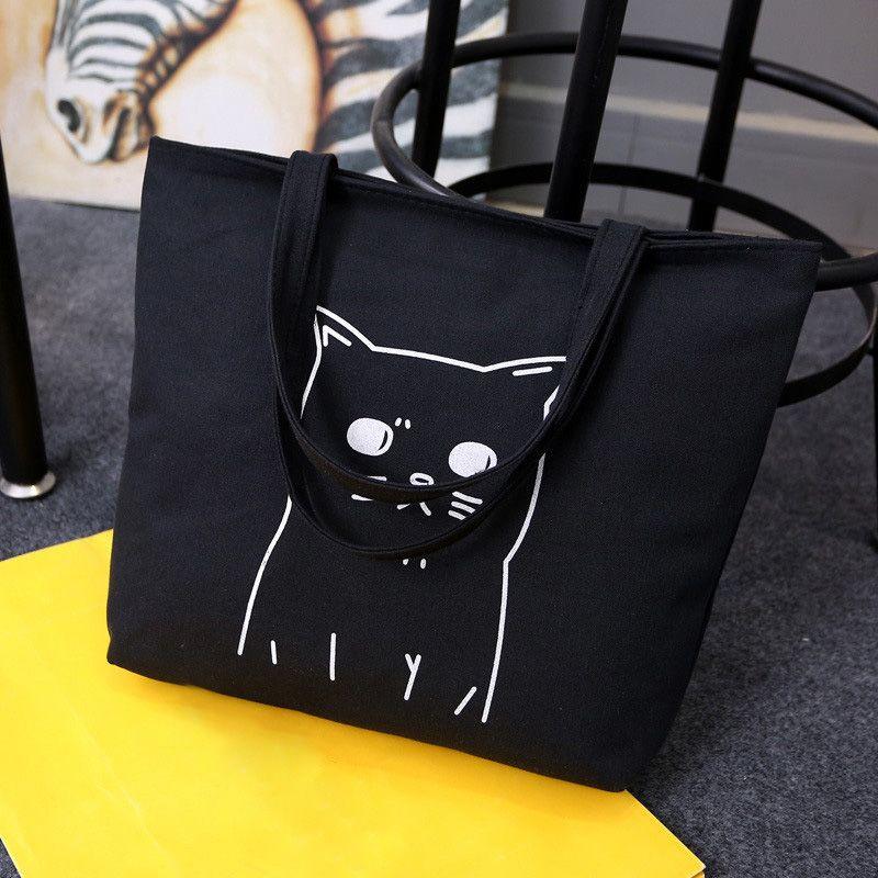 Sacs à provisions femme Osmond Cats Canva sac à main femme grand fourre-tout noir réutilisable sacs à bandoulière d'épicerie pliant Feminina Bolsa