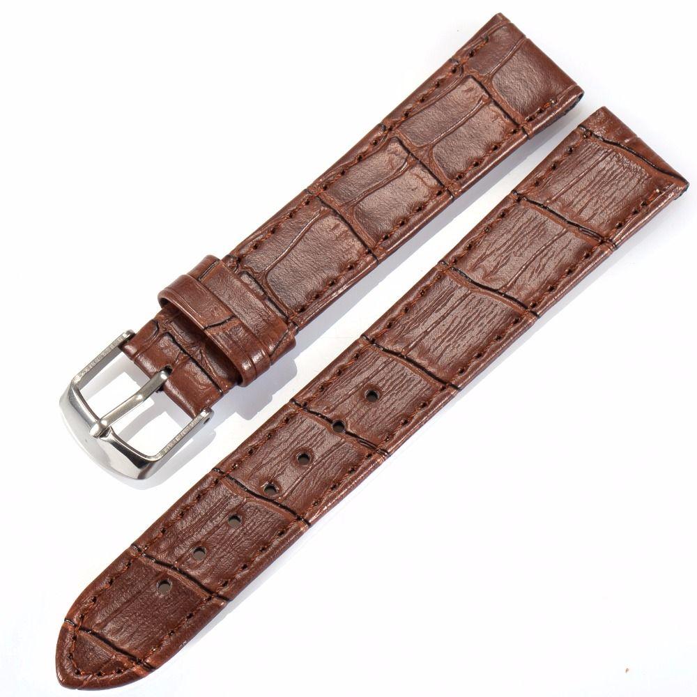 A ESTRENAR 18mm 20mm 22mm ancho hombres reloj negro marrón Cuero auténtico cinturón banda de acero hebilla reloj correa/wb1807/2213