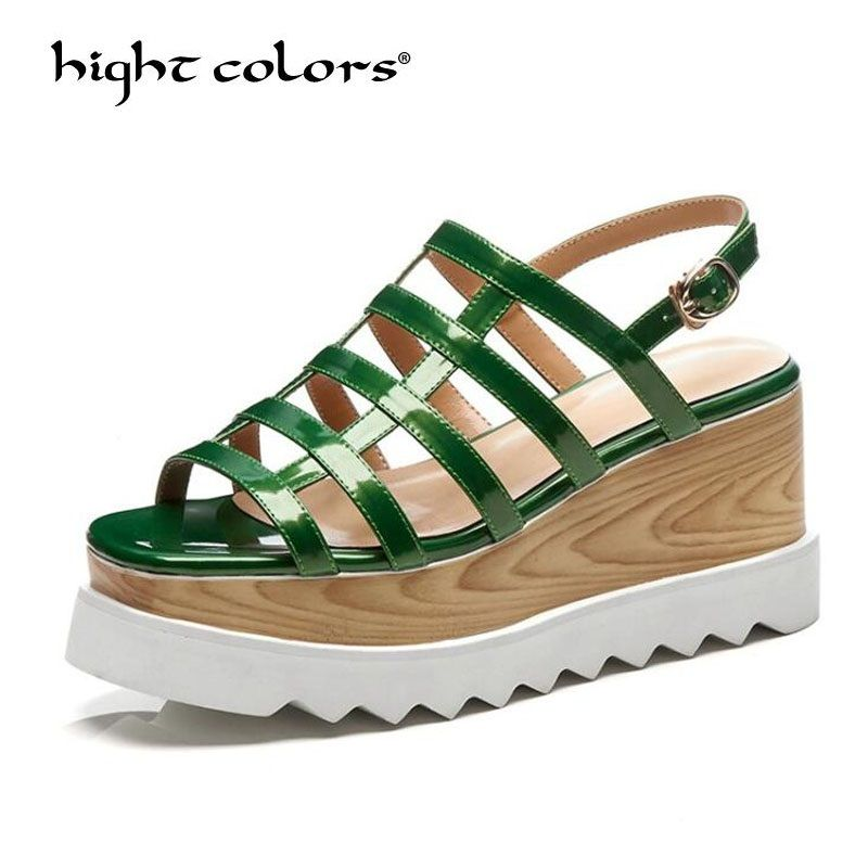 Green Women Sandals High Heels 2018 New Summer Fashion Buckle Female Gladiator Sandals Platform Shoes Woman Black Size 33-43