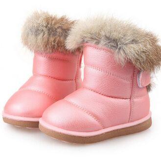 Niños Botas de goma Botas invierno espesar felpa Botas de nieve niño Botas para niños zapato blanco