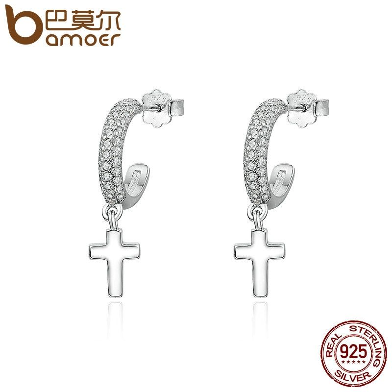 BAMOER Classic Authentic 925 Sterling Silver Light of Faith Cross Drop Earrings for Women Sterling Silver Jewelry Bijoux SCE171