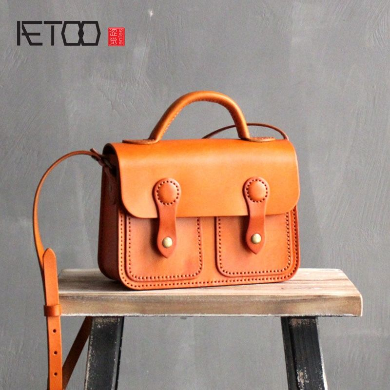 AETOO Handmade Leather Handbags College Wind Cambridge Spaghetti Tanned Leather Shoulder Bag Artistic First Layer Leather Postma