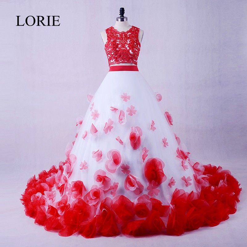 Luxury Two Piece Prom Dress 2017 LORIE White And Red Girls Graduation Party Dresses Flowers Vintage Lace Evening Gowns Dresses