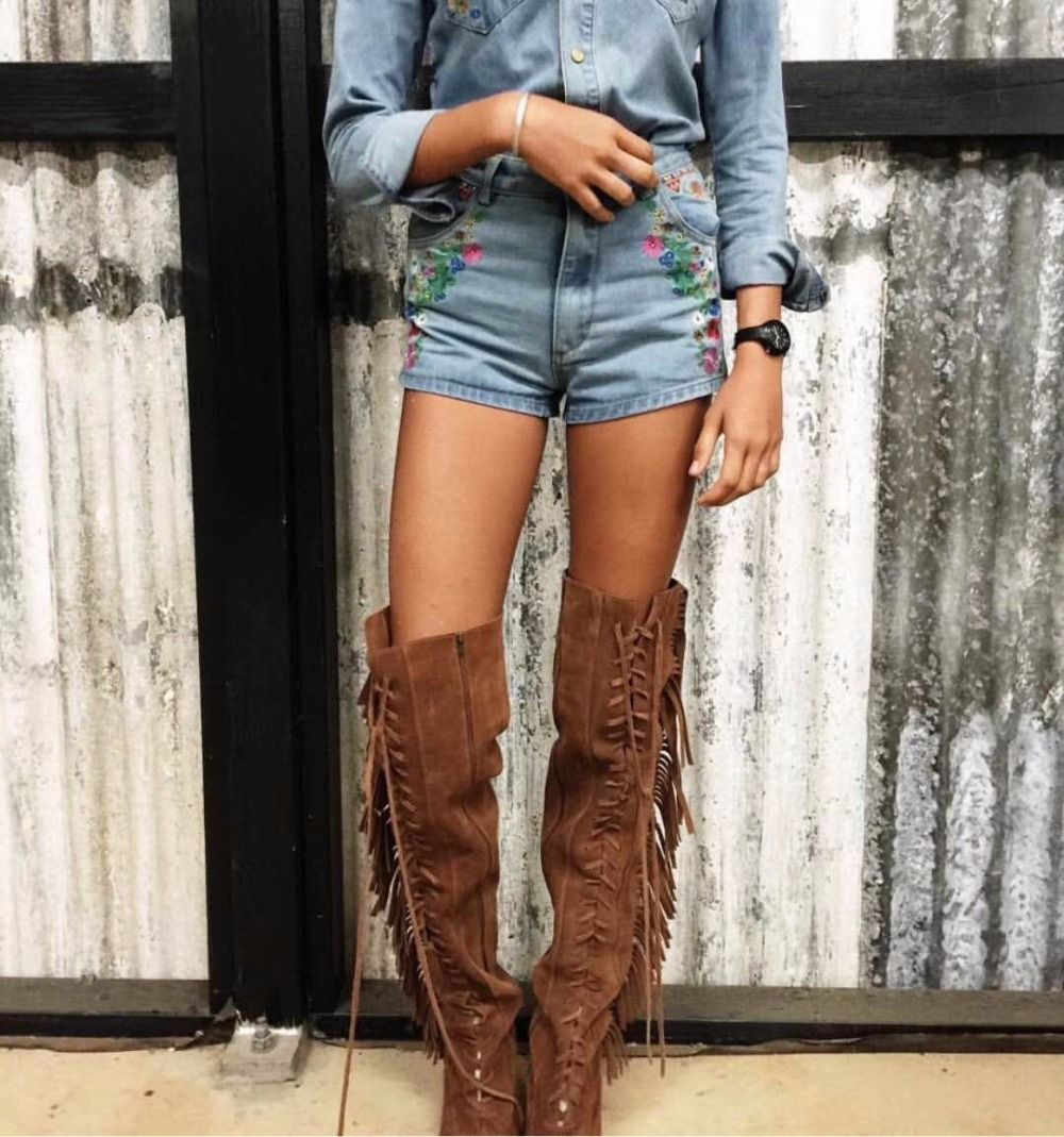 Women Vintage Cowgirl Meets Boho Look High Boots With Etched Metal Heel &Toe caps Dress