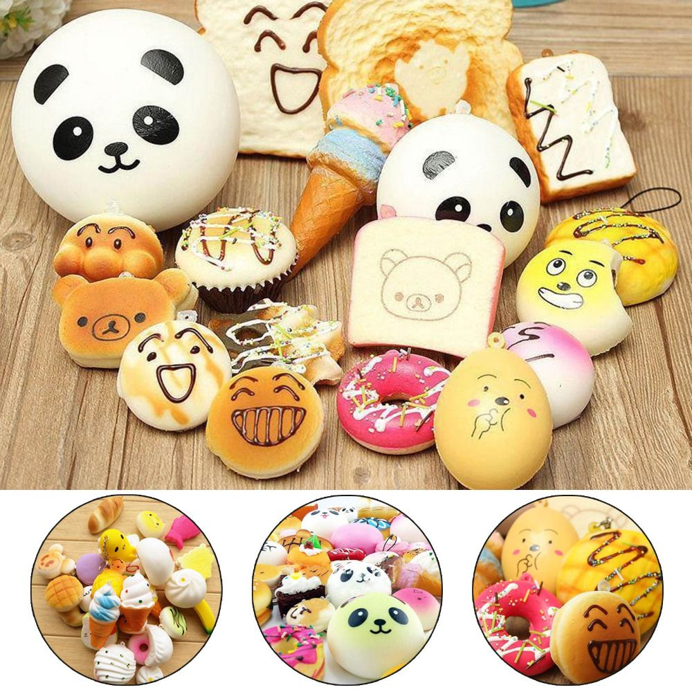 10pcs DIY Toast Cake Bread Panda Donuts Cell Phone Strap Soft Funny Squishy Slow Rising Jumbo Press Squeeze Toy Phone Decoration