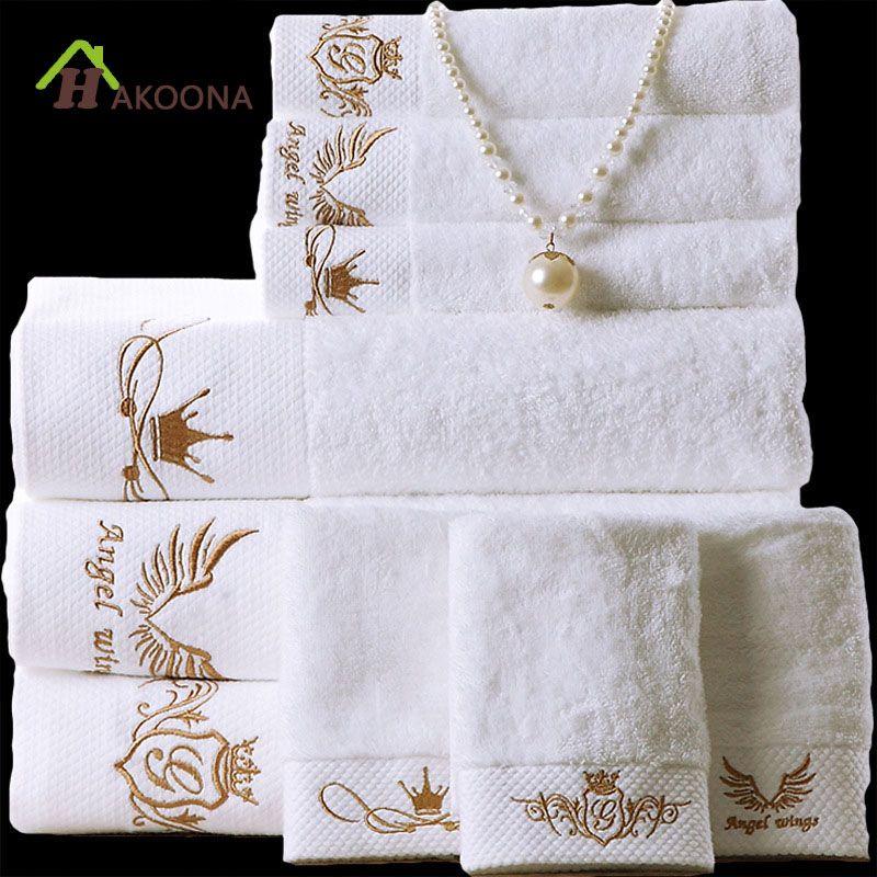 HAKOONA hôtel de luxe Athena déesse couronne serviette de bain blanche brodée 160*80 cm coton adultes doux absorbant grandes serviettes épaisses