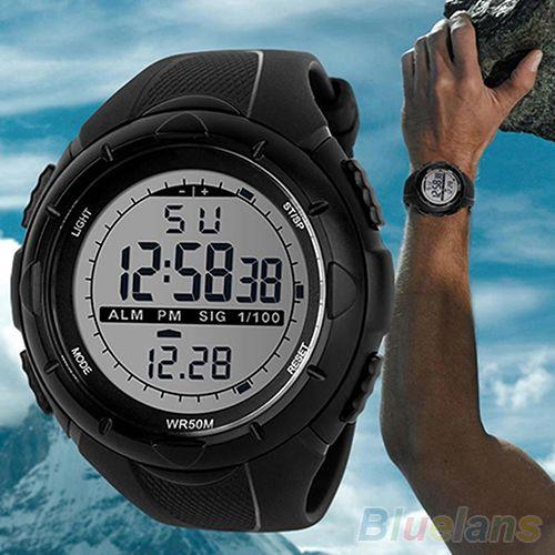 Hot Men's Waterproof Watches LED Silicone Band Timer Sports Quartz Wrist Watch 511U
