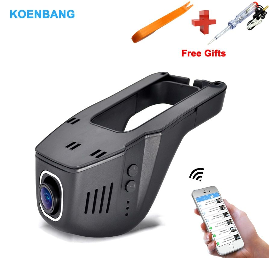 KOENBANG Wifi Voiture Cachée DVR Caméra enregistreur vidéo WDR vision Nocturne Sony Imx323 1080 p HD, 170 Degrés Voiture Dash Cam