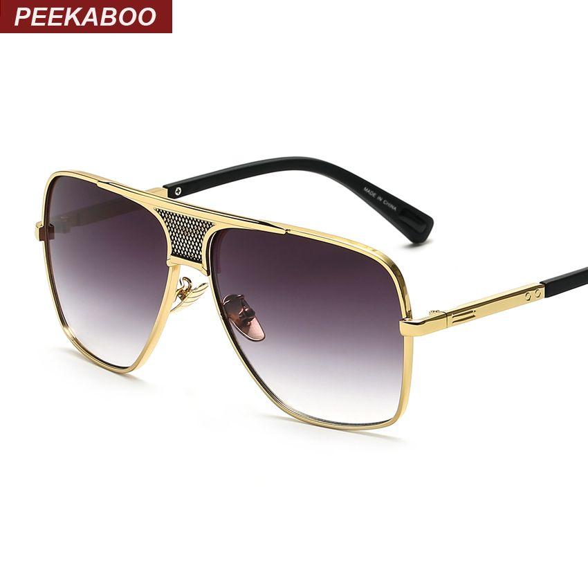 Peekaboo nouvelle marque 2016 steampunk carré lunettes de soleil hommes plat top métal or européen américain rétro lunettes de soleil de luxe homme