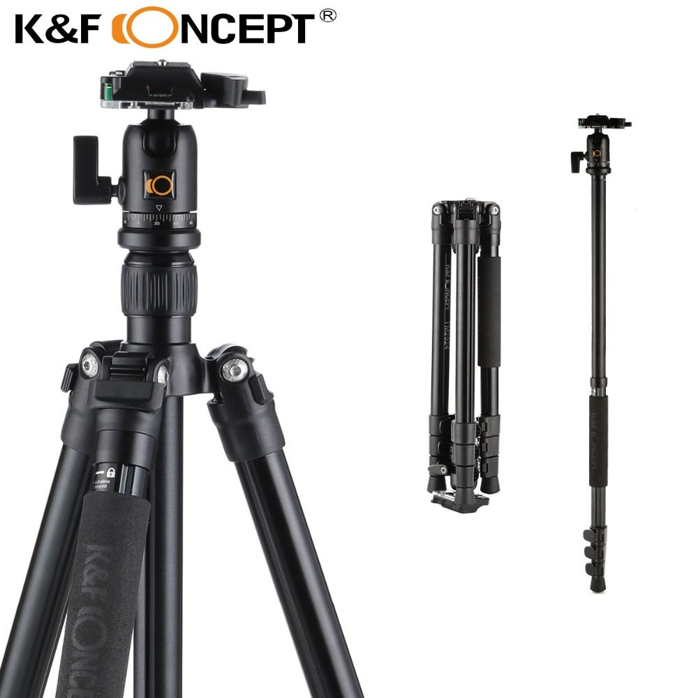 K&F CONCEPT TM2524 Professional Portable Travel Aluminum Camera Tripod New Design Monopod for DSLR Canon Nikon Sony Fuji Camera