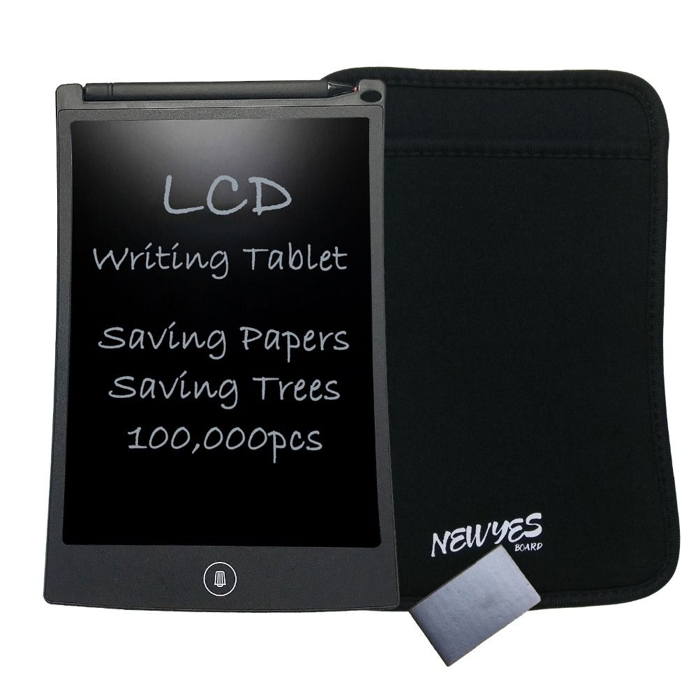 NEWYES 8.5 inch Black Drawing Toys Erase Tablet Electronic Paperless LCD e-Writer Writing Tablets with Portablet Waterproof Bag